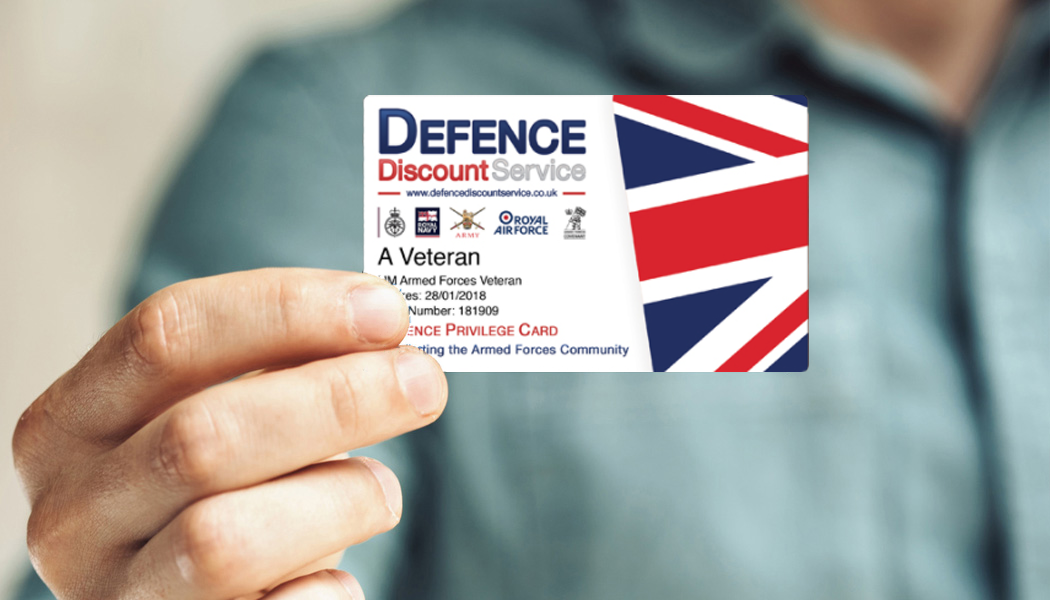 Defence Discount Service card being held by a person